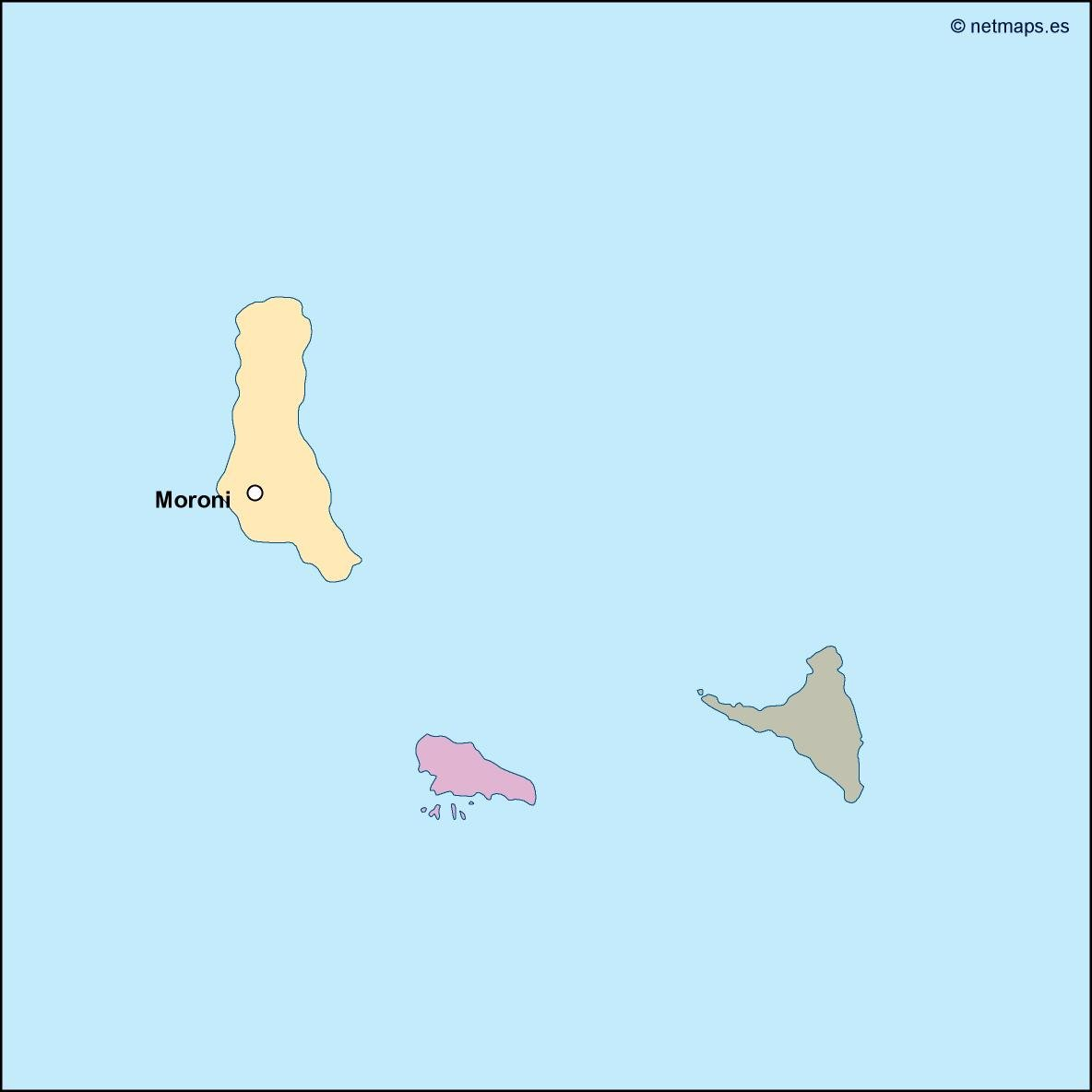 comoros vector map