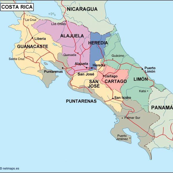 costa rica political map