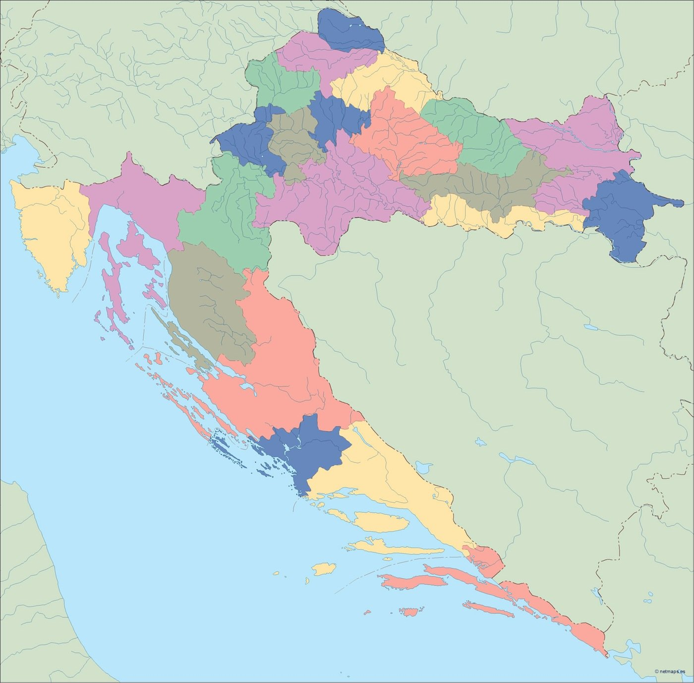 croatia blind map