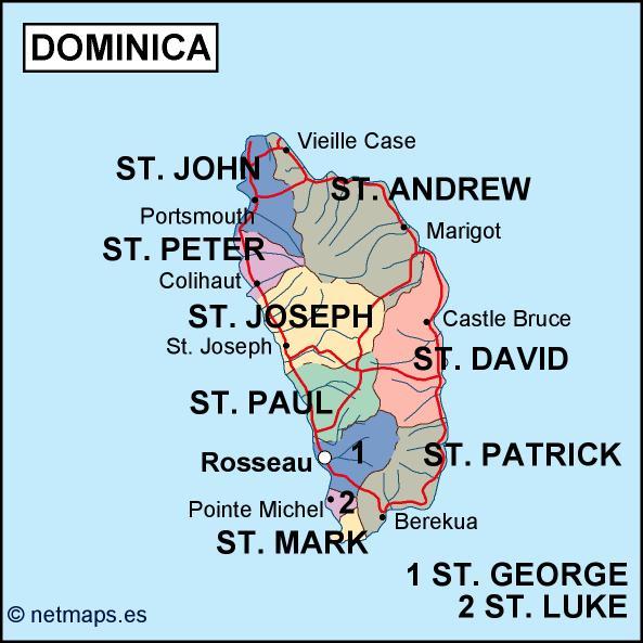 dominica political map