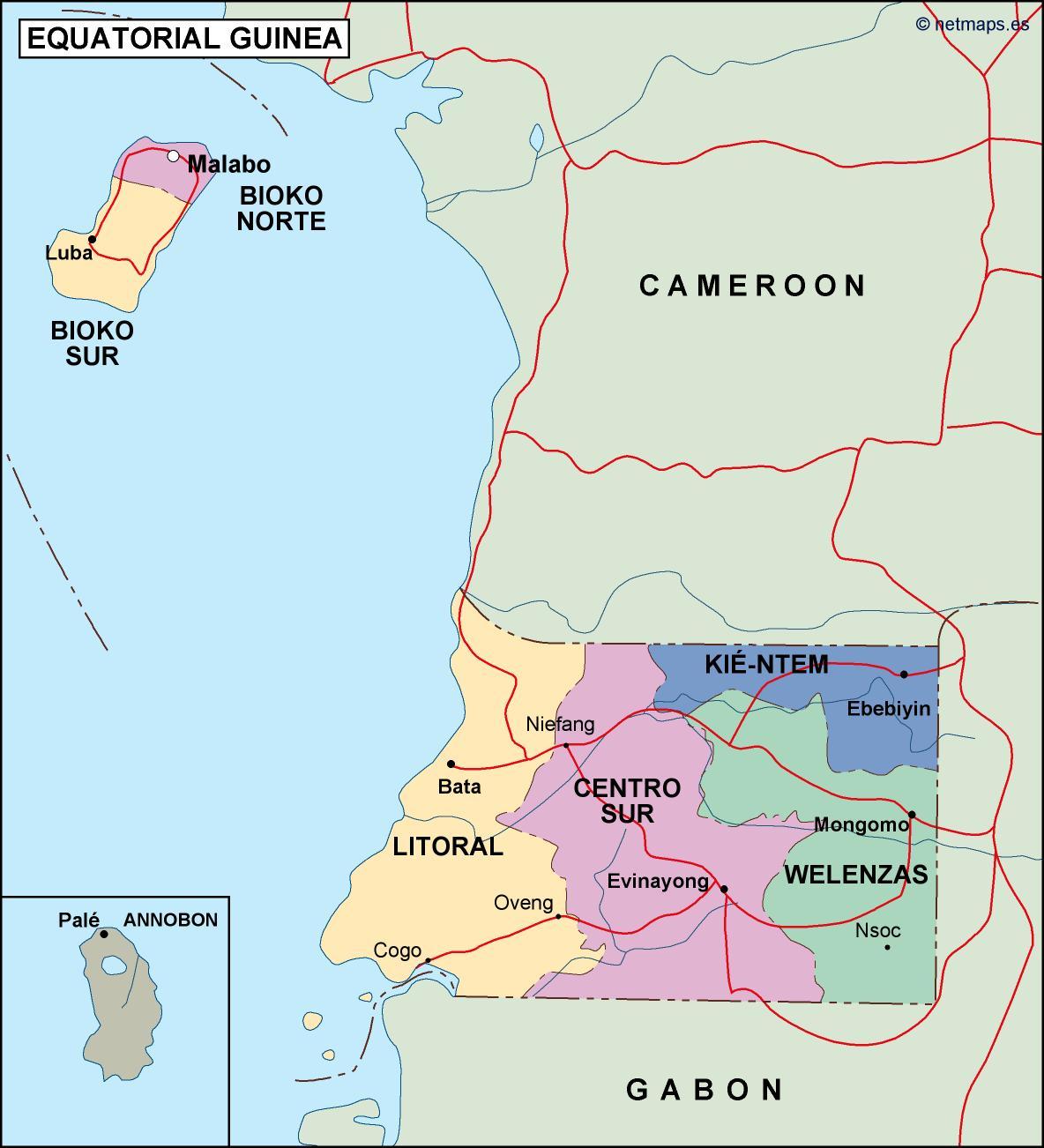 equatorial guinea political map