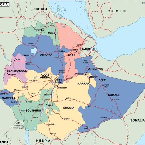ethiopia political map