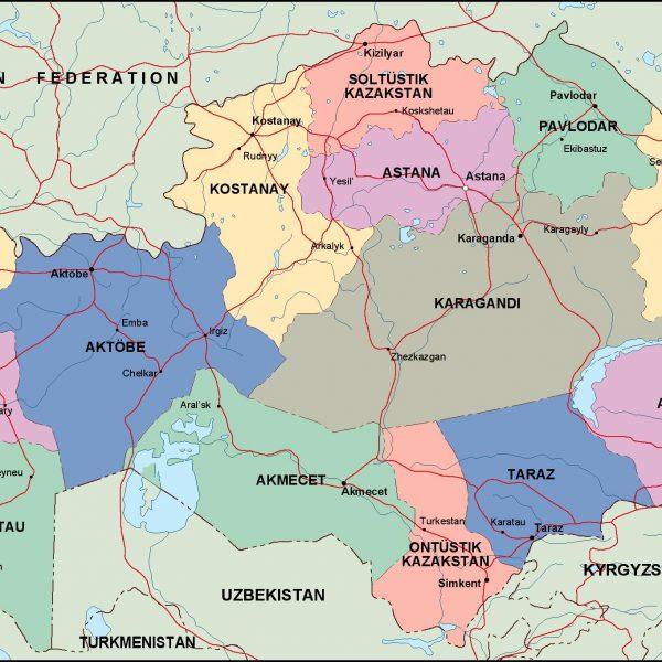 kazajstan political map