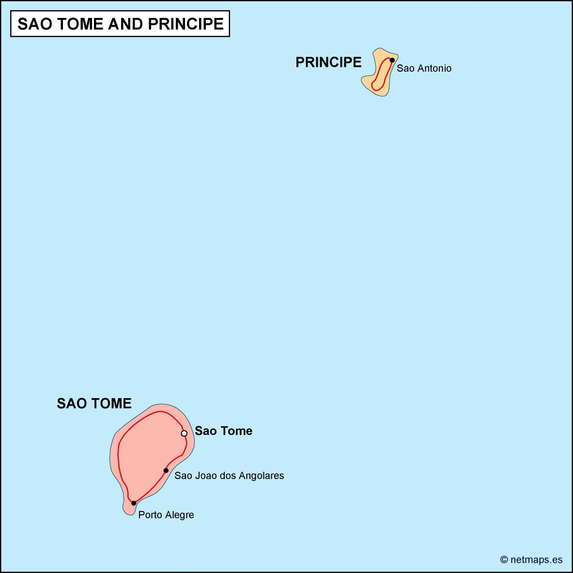 sao tome e principe political map