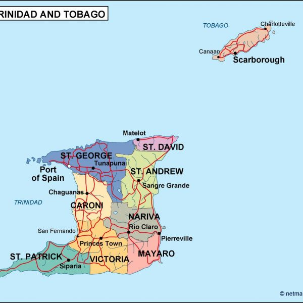 trinidad and tobago political map