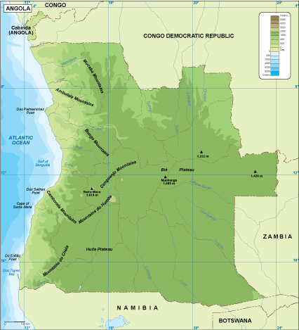 Angola physical map
