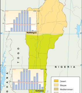 Benin climate map