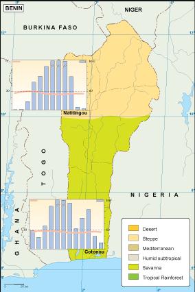 Benin climate map