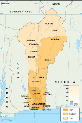 Benin economic map