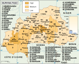 Burkina Faso economic map
