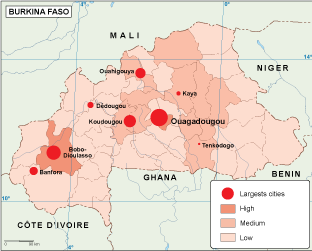 Burkina Faso population map