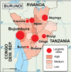 Burundi population map