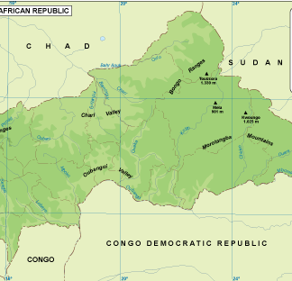 Central African Rep physical map