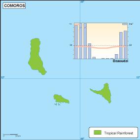 Comoros climate map