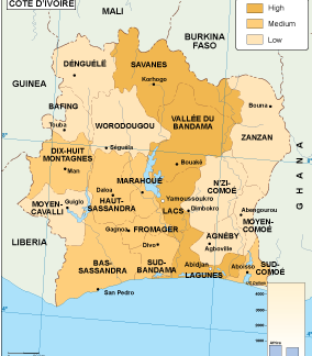 Cote Ivoire economic map