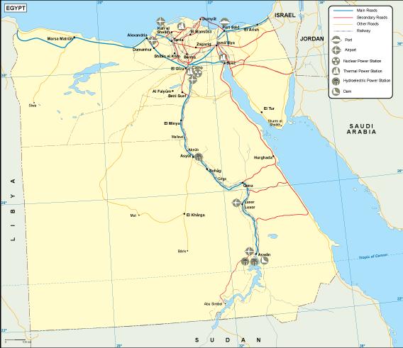 Egypt transportation map