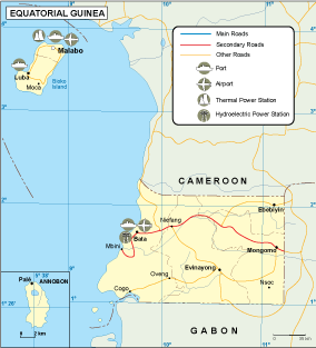 Equatorial Guinea transportation map