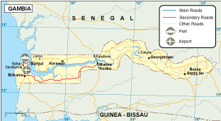 Gambia transportation map
