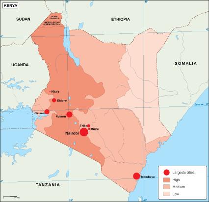 Kenya population map