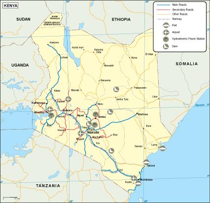 Kenya transportation map