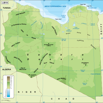 Libya physical map