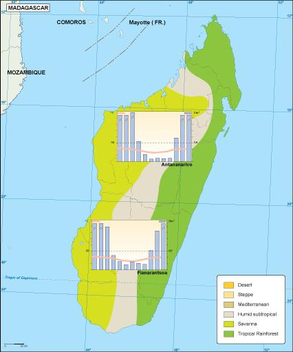 Madagascar climate map