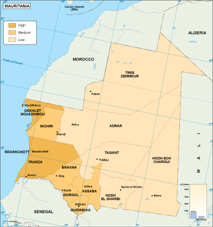 Mauritania economic map
