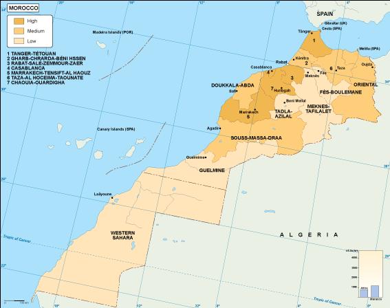 Morocco economic map