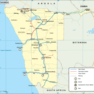 Namibia transportation map