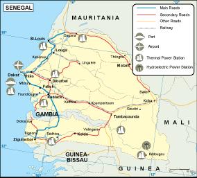 Senegal transportation map