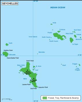 Seychelles vegetation map