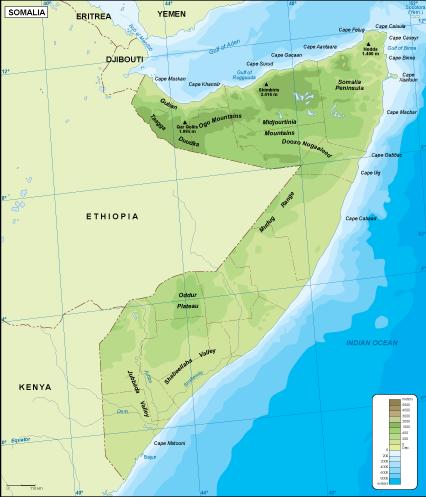 Somalia physical map