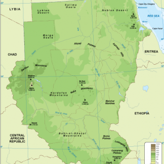Sudan physical map