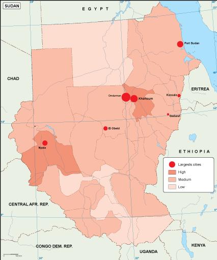 Sudan population map