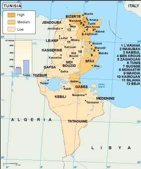 Tunisia economic map