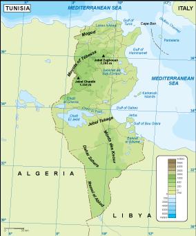 Tunisia physical map
