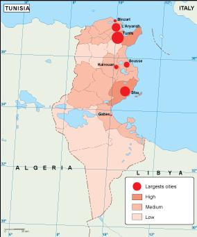 Tunisia population map