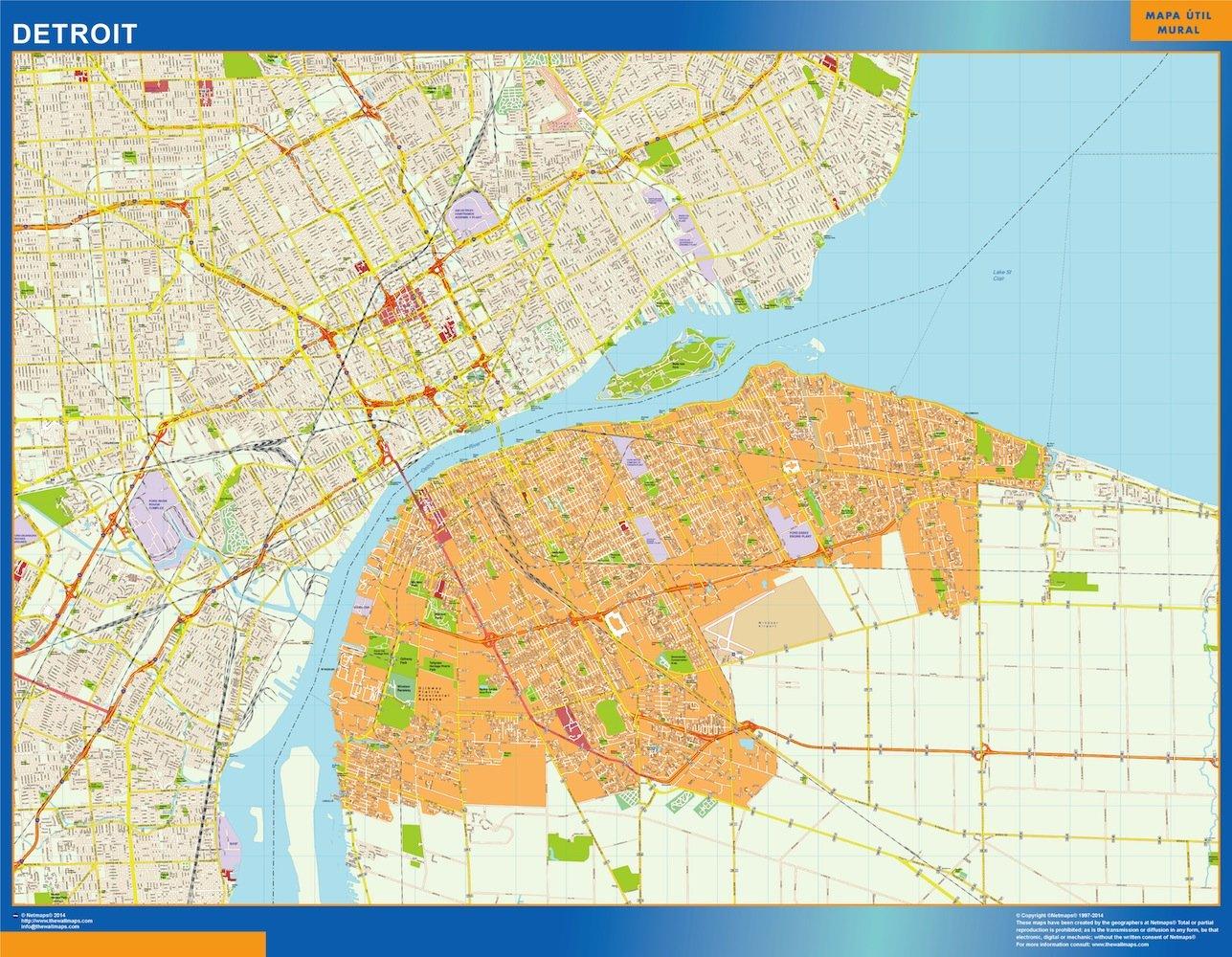 detroit vector map