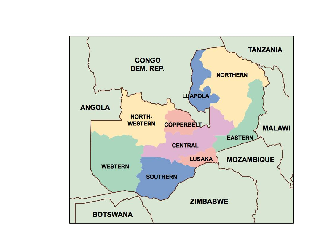 zambia presentation map