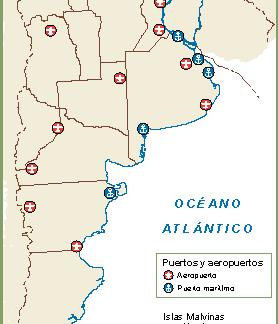Argentina mapa aeropuertos puertos