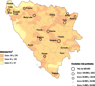 Bosnia Herzegovina Population map