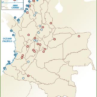 Colombia mapa aeropuertos puertos