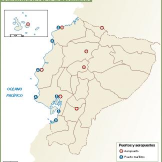 Ecuador mapa aeropuertos puertos