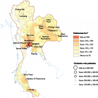Thailand Population map